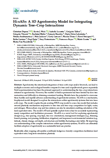 A 3D Agroforestry Model for Integrating Dynamic Tree Crop Interactions