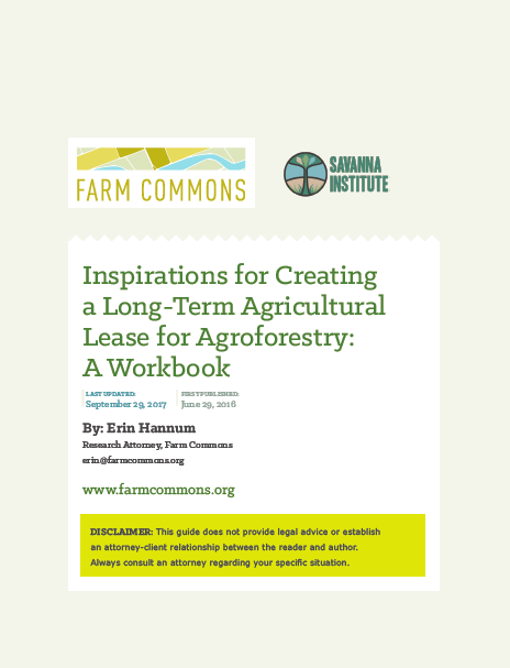 Long-Term Agricultural Lease for Agroforestry Workbook